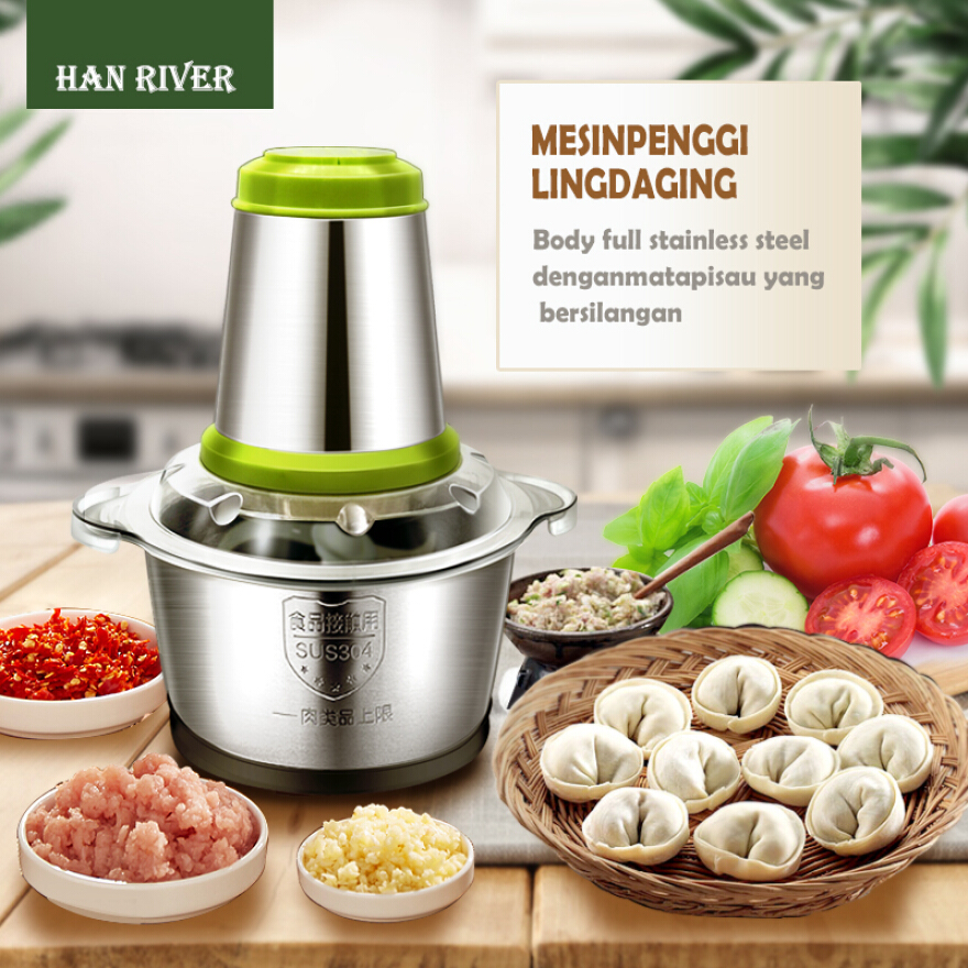 HAN RIVER Meat Grinder 2L Stainless Steel Mixer For Fruit Meat and Vegetables - Green JD.id