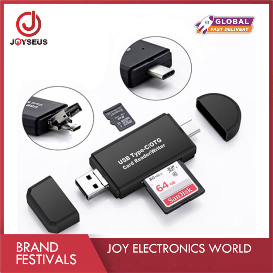 BAIYI TF High Speed Memory Card Reader Plug and Play High Speed Interface USB 2.0 Type-C Card Reader for Tablets